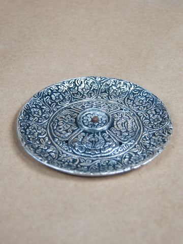 Incense Burner - Round White Metal Incense Burner