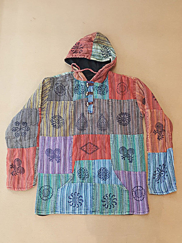 Jacket - Patchwork Nepali Pullover With Fleece