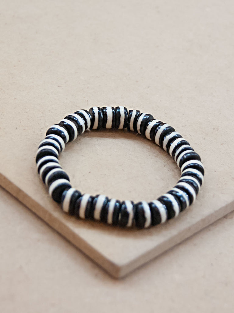 Mala Bracelet - Black And White Bone Disc Mala Bracelet