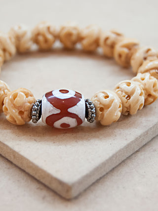 Mala Bracelet - Bone With Red And White Dzi Bead Mala Bracelet