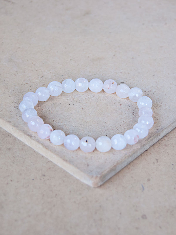 Mala Bracelet - Diamond Cut Rose Quartz Mala Bracelet