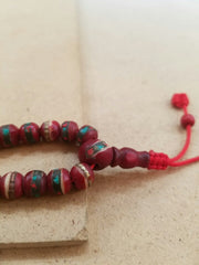 Mala Bracelet - Red Turquoise And Coral Bone Mala Bracelet