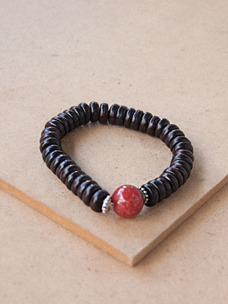 Mala Bracelet - Wood Beaded Bracelet With Red Stone