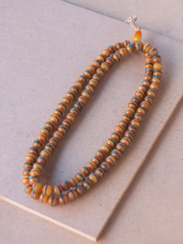Malabead - Amber With Turquoise And Coral Inlay