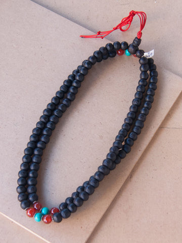 Malabead - Bodhi Seed Mala Bead With Turquoise And Carnelian Counters