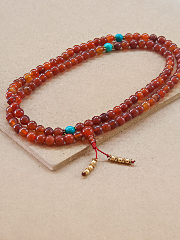 Malabead - Carnelian Mala Bead With Turquoise Spacers