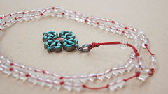 Malabead - Clear Crystal Quartz With Sterling Silver Turquoise Vajra Dorjee Pendant Mala Bead