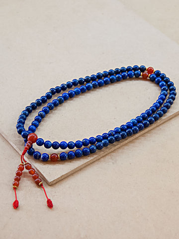 Malabead - Lapis Lazuli Mala Bead With Carnelian Spacers