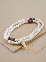 Malabead - Mother Of Pearl With Coral And Turquoise Mala Bead