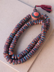 Malabead - Red Bone Mala Bead With Large Guru Bead