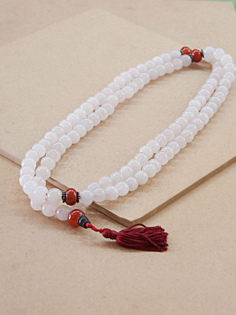 Malabead - Rose Quartz With Coral Mala Bead