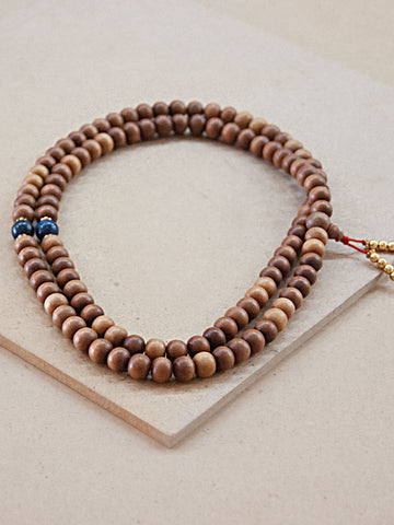 Malabead - Sandal Wood Mala Bead With Lapis Spacer