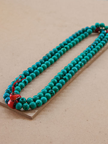 Malabead - Turquoise And Red Coral Mala Bead