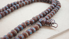 Malabead - Wood Mala Bead With Turquoise And Coral Inlay