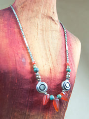 Necklace - Carnelian With Sterling Silver Bead Necklace