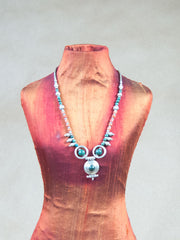 Necklace - Green Turquoise With Light Red Coral Silver Necklace