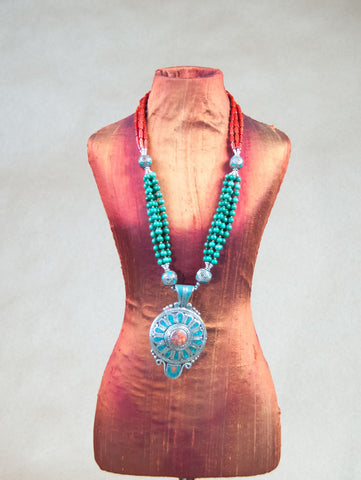 Necklace - Turquoise With Red Coral Center Silver Necklace