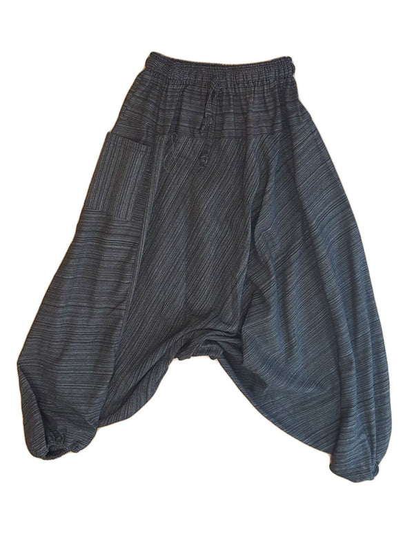 Pants - Solid Striped Harem Pants