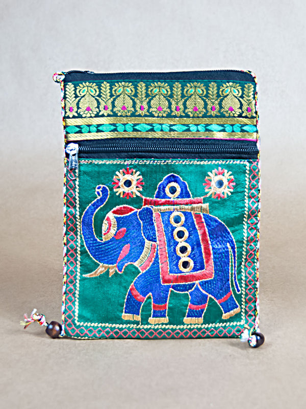Purse - Glossy Cotton Elephant Side Bag