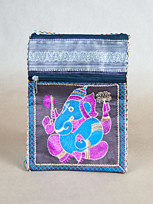 Purse - Glossy Cotton Ganesha Side Bag