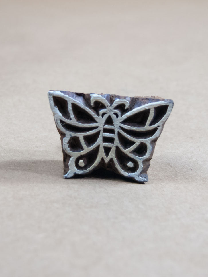 Stamp - Medium Wooden Butterfly Block Print Stamp