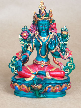 Statues - Painted Ceramic Green Tara Statue