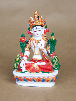 Statues - Painted Ceramic White Tara Statue
