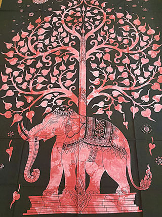 Tapestry - Twin Sized Tree Of Life Elephant Tapestry