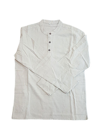 Top - Mens 3 Button Plain Cotton Shirt