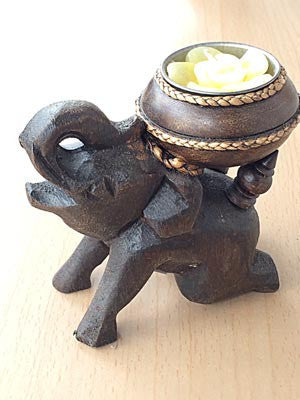 Wooden Elephant Candle Holder With Downward Trunk