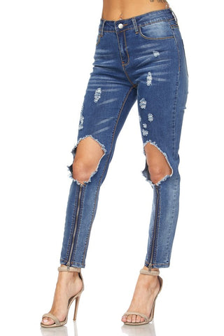 Zipped Distress Jeans
