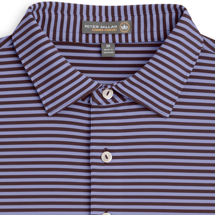 Peter Millar - Competition Stripe Stretch Jersey Polo - FRENCH WINE -SZ LARGE