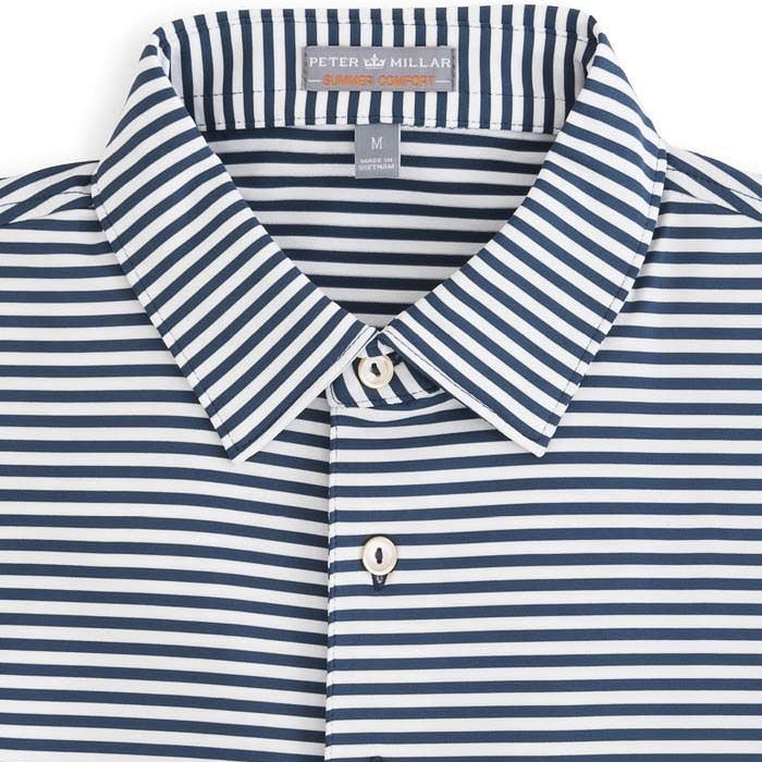 Peter Millar - Competition Stripe Stretch Jersey Polo - MIDNIGHT -SZ LARGE