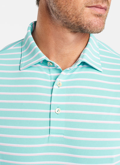 Peter Millar -  Mens Coley Stripe Stretch Mesh Polo - SEASH - sz Medium