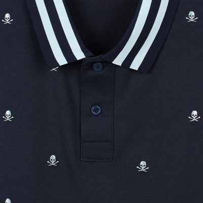 G/FORE MENS SKULLS AND T'S EMBROIDERED POLO - TWILIGHT