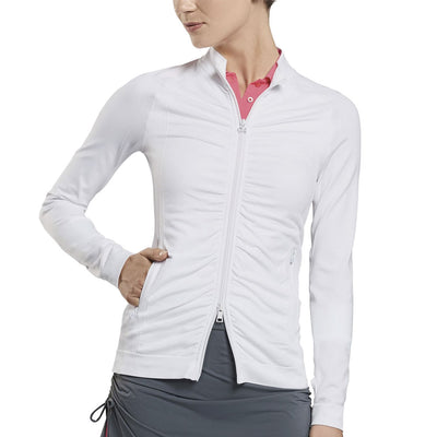 G/FORE WOMENS RUCHED MIDLAYER - SNOW - SZ Small