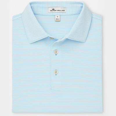 Peter Millar - Mens Luna Stripe Stretch Jersey Polo - BLUEFISH - sz Medium