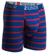 "2UNDR - SWING SHIFT 6"" BOXER BRIEF - NAVY/RED STRIPES"