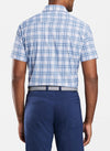 Peter Millar - Mens Sky Top Featherweight Short-Sleeve Sport Shirt - COTTAGE BLUE -Sz Medium