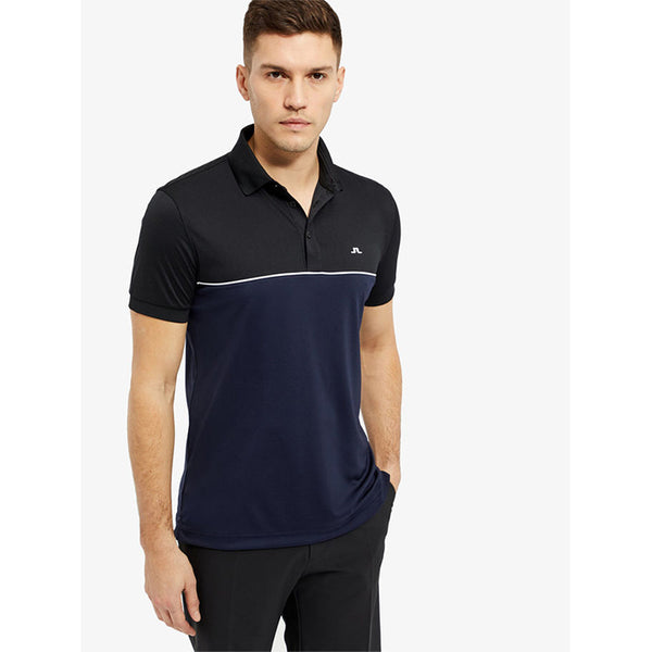 J Lindeberg Men's - BRIGHTON REG TX JERSEY POLO SHIRT - Navy