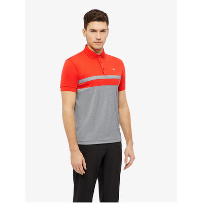 J Lindeberg Mens - Kye Cotton Poly Polo - Racing Red