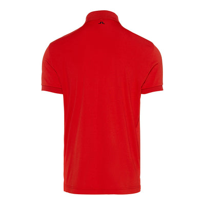 J.LINDEBERG MENS M TOUR TECH REG TX JERSEY - TOMATO RED