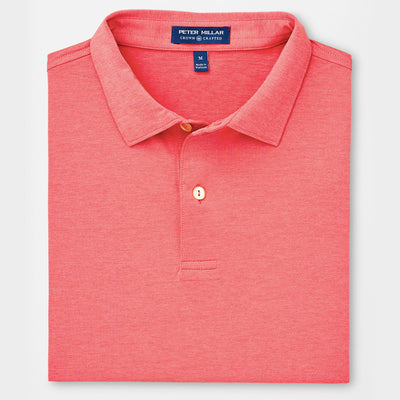 Peter Millar Mens TOUR FIT -Crown Crafted Solid Stretch Performance Polo - CAPE RED