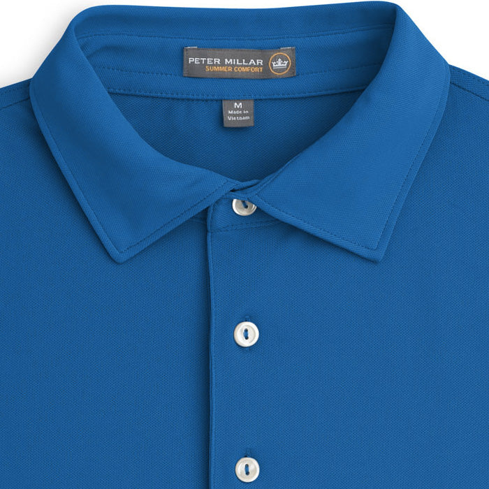 Peter Millar - Solid Stretch Mesh Polo - PARISIAN BLUE -SZ LARGE