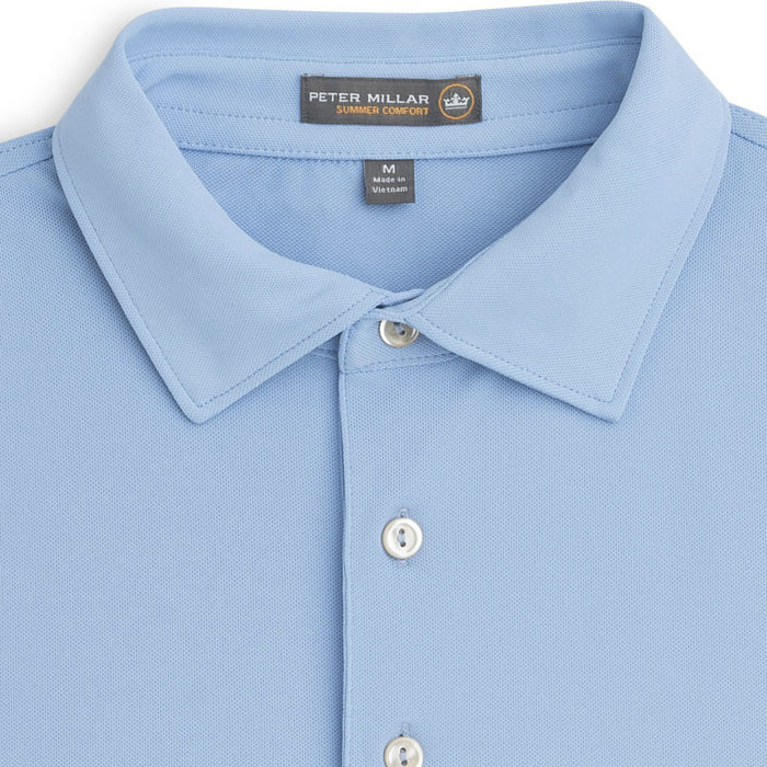 Peter Millar - Solid Stretch Mesh Polo - COTTAGE BLUE -SZ LARGE