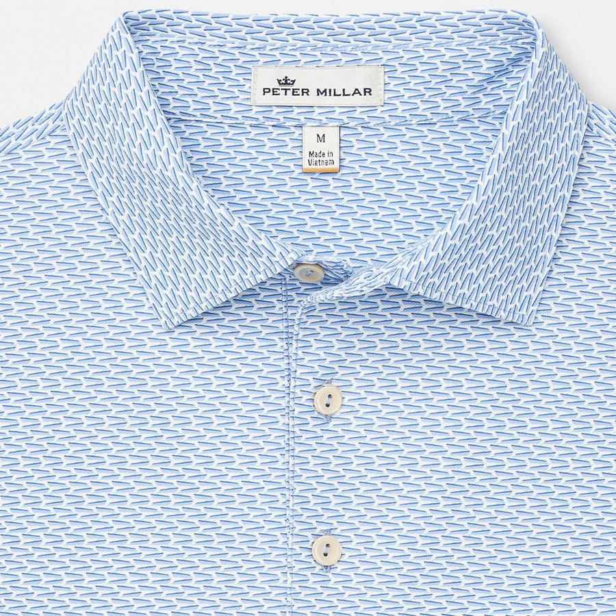 f240b4b6 Peter Millar - Mens Marlowe Printed Boats Stretch Mesh Polo - WHITE / BLUE  - sz