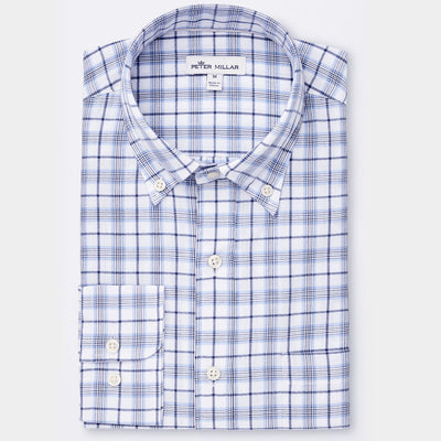 Peter Millar - Mens Cowlyn Bay Plaid Shirt - WHITE -Sz Medium