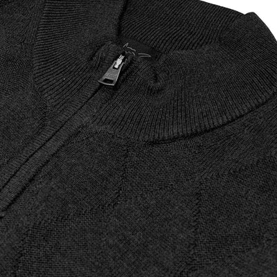 Greg Norman Collection Men's 1/4-ZIP LINED WIND FASHION SWEATER - BLACK HEATHER