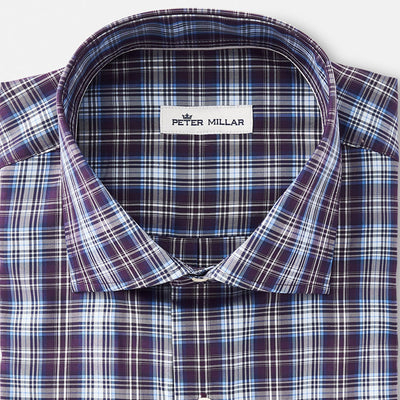 Peter Millar - Mens Crown Soft Crestline Sport Shirt - BLACKBERRY -SZ MEDIUM