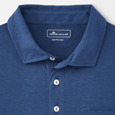 Peter Millar -  Mens Seaside Aqua Cotton Solid Polo - ATLANTIC BLUE - sz Medium
